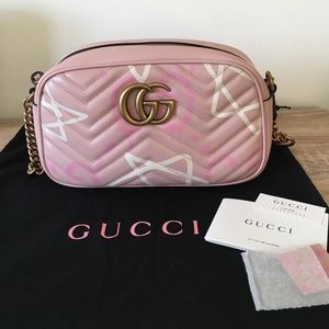 Pink Gucci GG Marmont Camera Bag !!